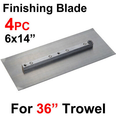 "4 pc 6x14"" Trowel Finishing Steel Double Side Blade, 36"" Power Concrete Machine"