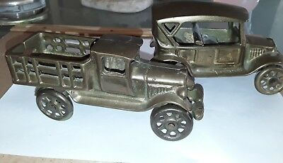 Vintage Toy  2 Solid Brass Classic Ford Model T Touring Car  - Made in Taiwan