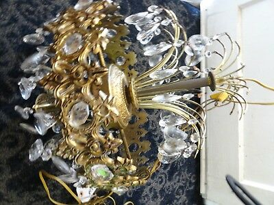 Vtg Mid Century Ornate Gold Crystal Tiered  Waterfall Chandelier