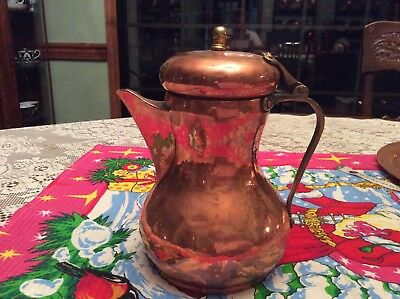 Russian Hammered Copper and Brass Coffee or Tea pitcher