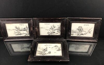 Set Of 4 Antique Chinese Qing Porcelain Plaques With Scenery Signed