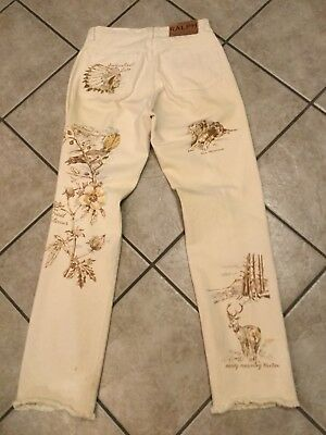 Rare Vtg Polo Ralph Lauren Indian Head Lake Fishing Miss Monta Dog Jeans Usa!!