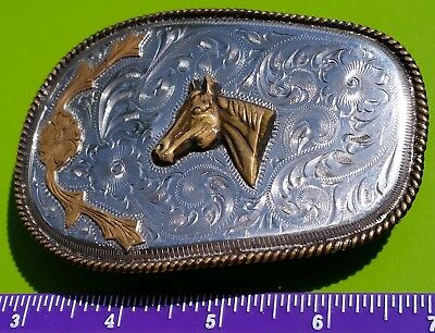 Vintage Alpaca Horse Head Belt Buckle hand engraved Made in Mexico