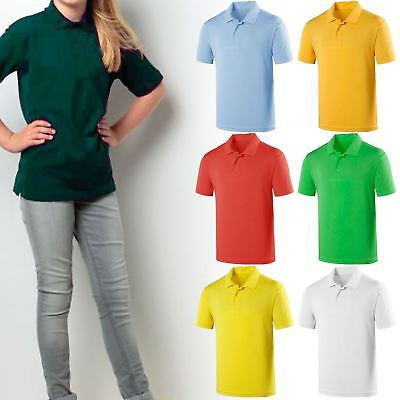 Kids Boys Girls Polo T-Shirts Fruit Of The Loom Pe School Uniform Collared Tops