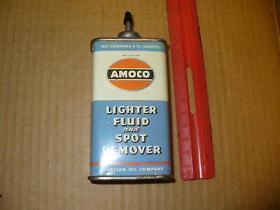 Vintage Amoco Lead Top Lighter Fluid Spot Remover Can American Oil Nice Shape