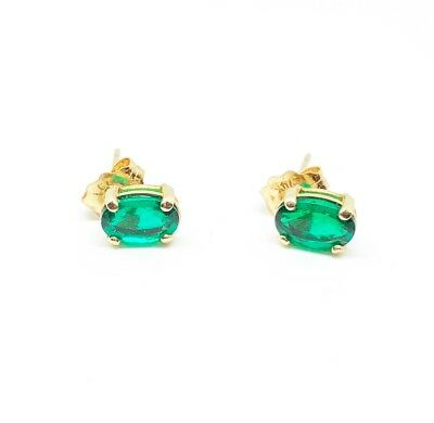 Authentic Emerald Oval Stud Earrings In Solid 14k Yellow Gold