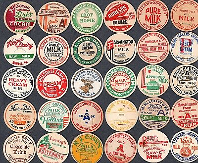 30 Vintage Milk Dairy Bottle Caps From 24 Different States