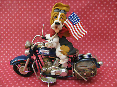 Handsculpted Tri Basset Hound 4th of July Parade Motorcycle Figurine