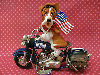 Handsculpted Red Basset Hound 4th of July Parade Motorcycle Figurine