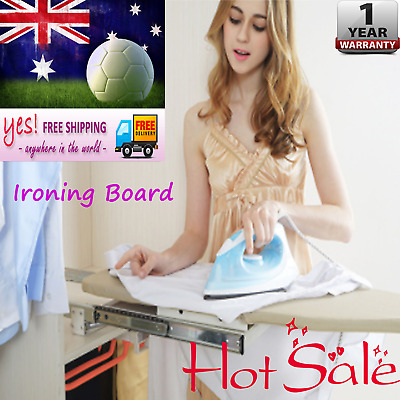 Pull Out Folding Ironing Board Swivel Plate fr Wardrobe Carbinet Drawer w/ Cover