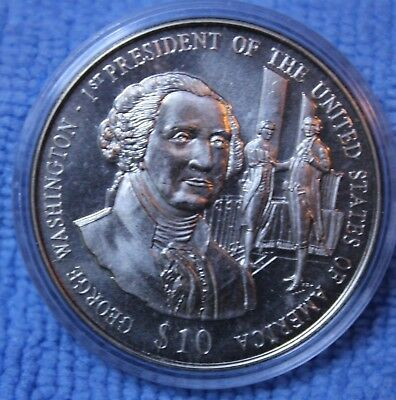 10$ George Washington First President Republic Of Liberia 2003 Coin Capsule