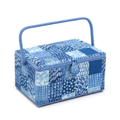 Hobby Gift 'Patchwork Denim' Extra Large Rectangle Sewing Box 20 x 39 x 26cm