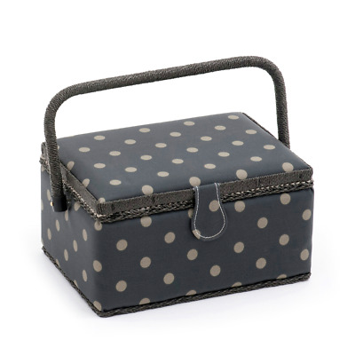 Hobby Gift 'Charcoal Polka Dot' Medium Rectangle Sewing Box 18.5 x 26 x 15cm