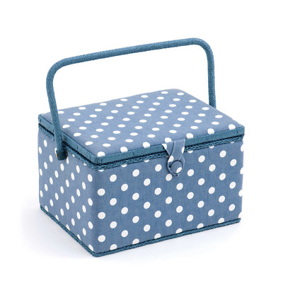 Hobby Gift 'Denim Polka Dot' Large Rectangle Sewing Box 23.5 x 31 x 20cm (d/w/h)