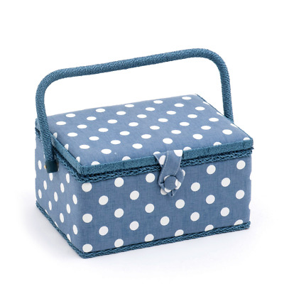 Hobby Gift 'Denim Polka Dot' Medium Rectangle Sewing Box 18.5 x 26 x 15cm