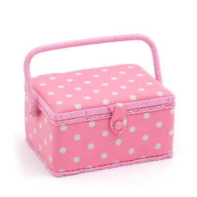 Hobby Gift 'Flamingo Polka Dot' Medium Rectangle Sewing Box 18.5 x 26 x 15cm (d