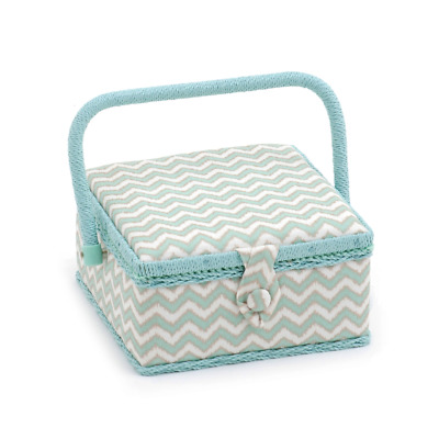 Hobby Gift 'Scribble Chevron - Mint Green & Gold' Small Square Sewing Box