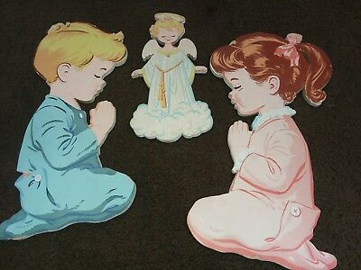 vintage 1958 child bedroom wall decor Plaques children praying with angel