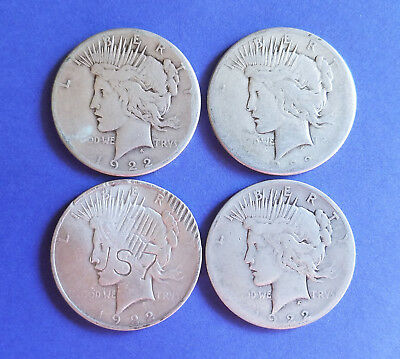 Lot Of 4 1922 Peace Silver Dollars 3-1922-S And 1-1922-P