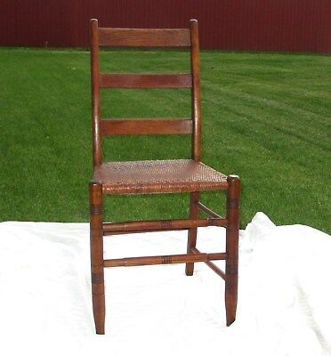 Vintage Wood Chair Ladder Back Wicker Seat 1800s Antique Hand Carved Oak 34.5""