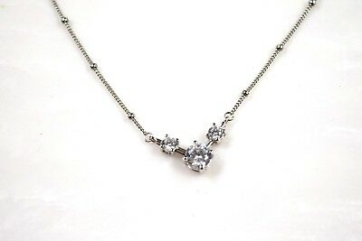 """Vintage Sterling Silver Beaded Cubic Zirconia Gems Choker Necklace 16"""" L (3 g )"""