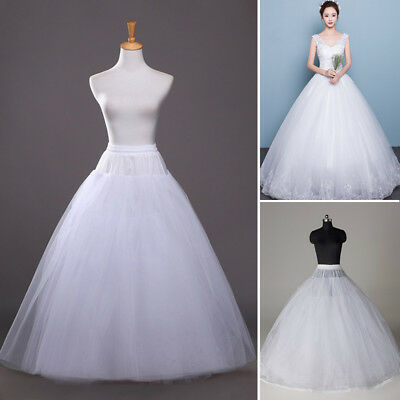 White Hoopless Petticoat A Line Underskirt Slip Crinoline Prom Wedding Dress US