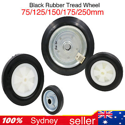 75,125,150,175,250mm black rubber tyre on poly centre wheel for trolley or toys