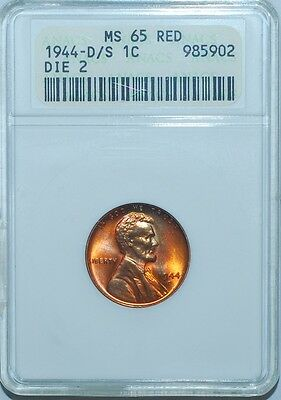 1944 D/S ANACS MS65RD Red FS-512 (FS-021) OMM-2 Lincoln Wheat Cent Penny