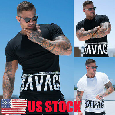 US Men's Gym Muscle Bodybuilding Cotton Sport Fit Fitness Casual Workout T-shirt