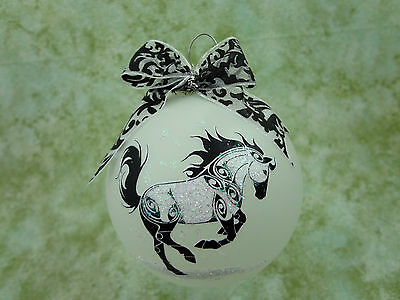 T004 Hand-made Christmas Ornament stylized HORSE tattoo- playful rearing buck