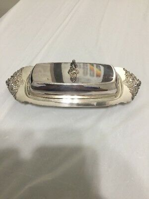 Vintage WALLACE BAROQUE Silver Plate BUTTER DISH (Tray) With Glass Insert