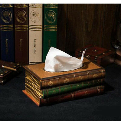 Wooden Tissue Box Paper Cover Retro Style Book Shape Napkin Holder Case