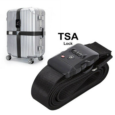 Adjustable TSA Luggage Cross Strap Packing Belt With Code-lock Suitcase Buckle