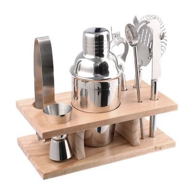 8Pcs Stainless Cocktail Shaker Mixer Drink Bartender Tools With Wooden Base