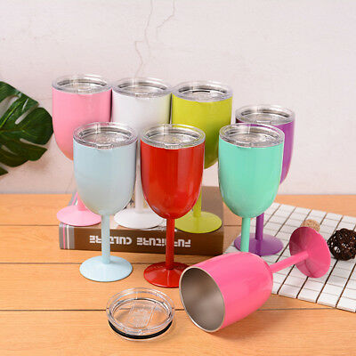 10oz Stainless Steel Double Wall Wine Cup Mug Bar Insulated Metal Goblet with Li