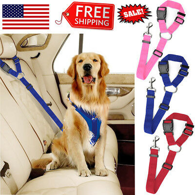 Pet Dogs Car Safety Seat Belt Adjustable Harness Clip Lead Leash Strap