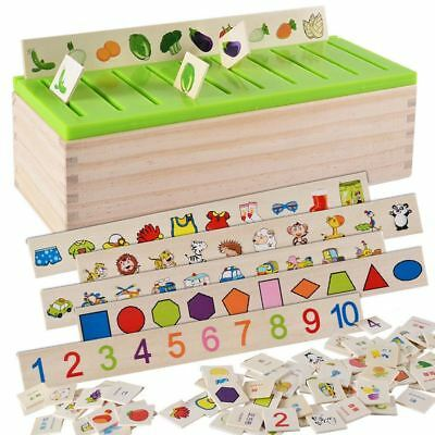 Wood Domino Study Box Montessori Early Educational Toy for Kids Learning