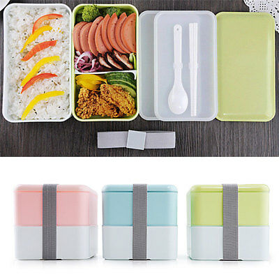 Japanese Double Lunch Box Microwave Bento Lunch Box + Spoon Utensils