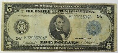 $5 1914 FR 850 LARGE NOTE Blue Seal New York Federal Reserve Ten Dollar #18517F
