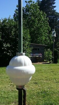 W.C. SHINN Belted Ribbed White Milk Glass Lightning Rod Ball