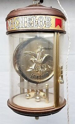S521 VINTAGE MICHELOB LIGHTED & ROTATING HANGING CLOCK 11x11x18