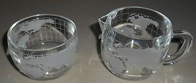 Vintage Nestle Nescafe Etched Glass World Globe Coffee Cream and Sugar No Lid