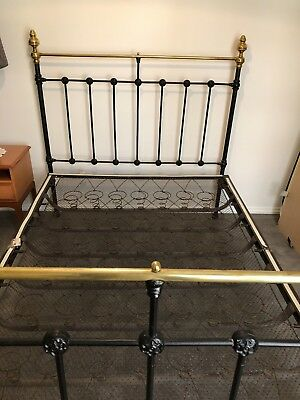 Antique Cast Iron and Brass Double Bed - MUST GO- Not a reproduction