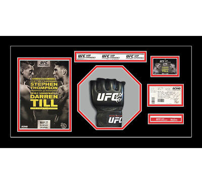 1x Signed UFC or MMA Glove Mitts in Octagon 3D Design Box Frame - Black Mount
