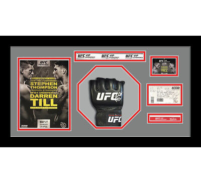 1x Signed UFC or MMA Glove Mitts in Octagon 3D Design Box Frame - Grey Mount