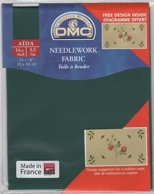 "DC27/500 Pack of DMC 14 count Dark Green Aida approx size 35 x 45cm (14 x 18"")"