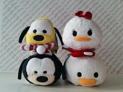 New 2015 Disney Store Mini Tsum Tsum Donald Daisy Pluto Goofy Christmas Set of 4