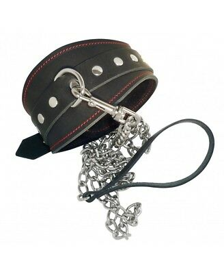 Guinzaglio con collare bondage pelle leather collar leash
