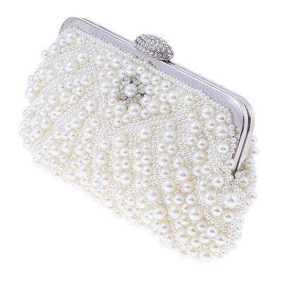Diamante Crystal Wedding Evening Clutch Bridal Prom Pearl Handbag Womens Bag