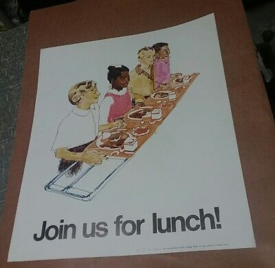 1973 1966 NATIONAL DIARY COUNCIL join us for lunch vintage 60s cafeteria school